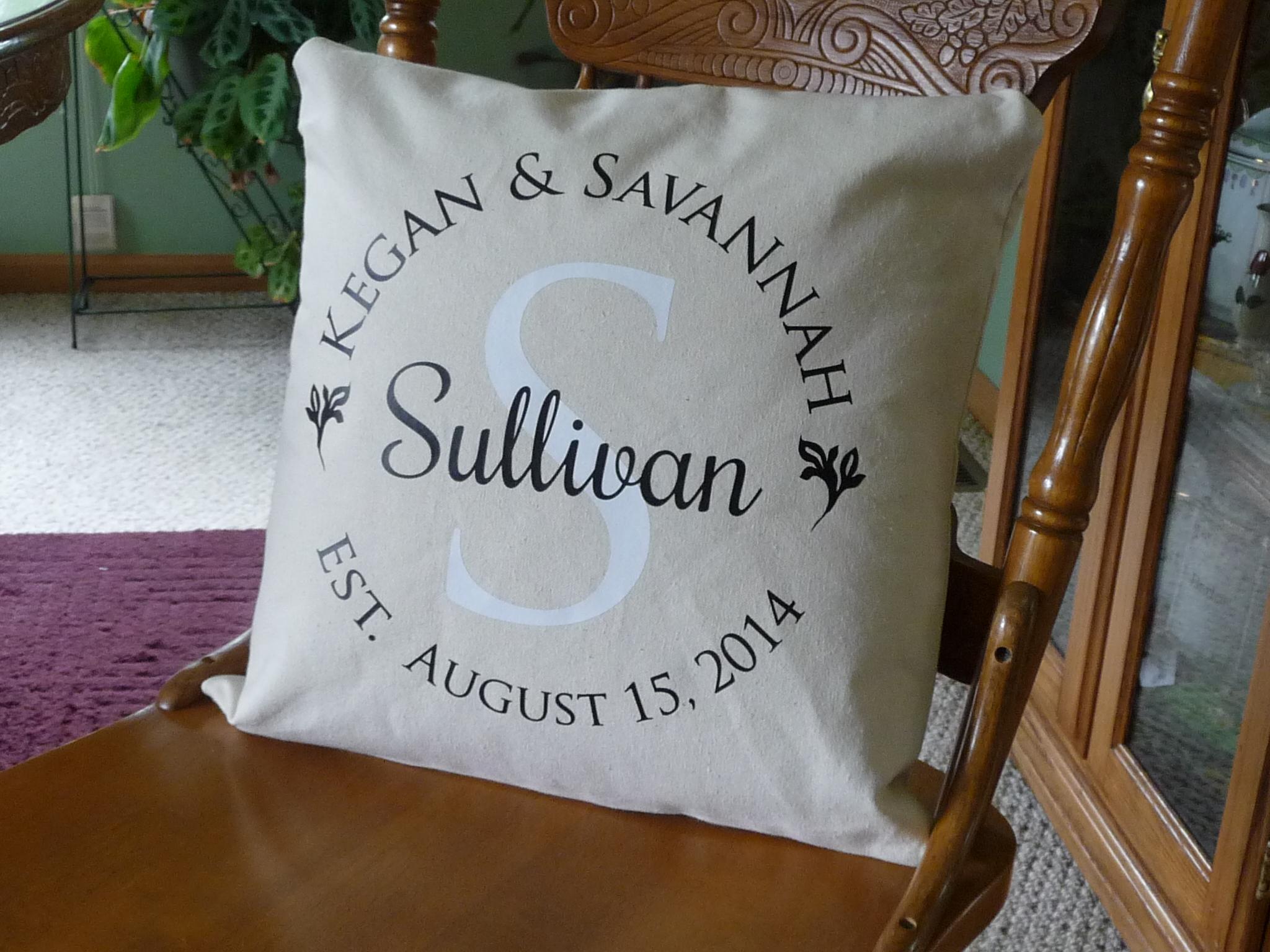 Custom Heat Press Monogram Pillow