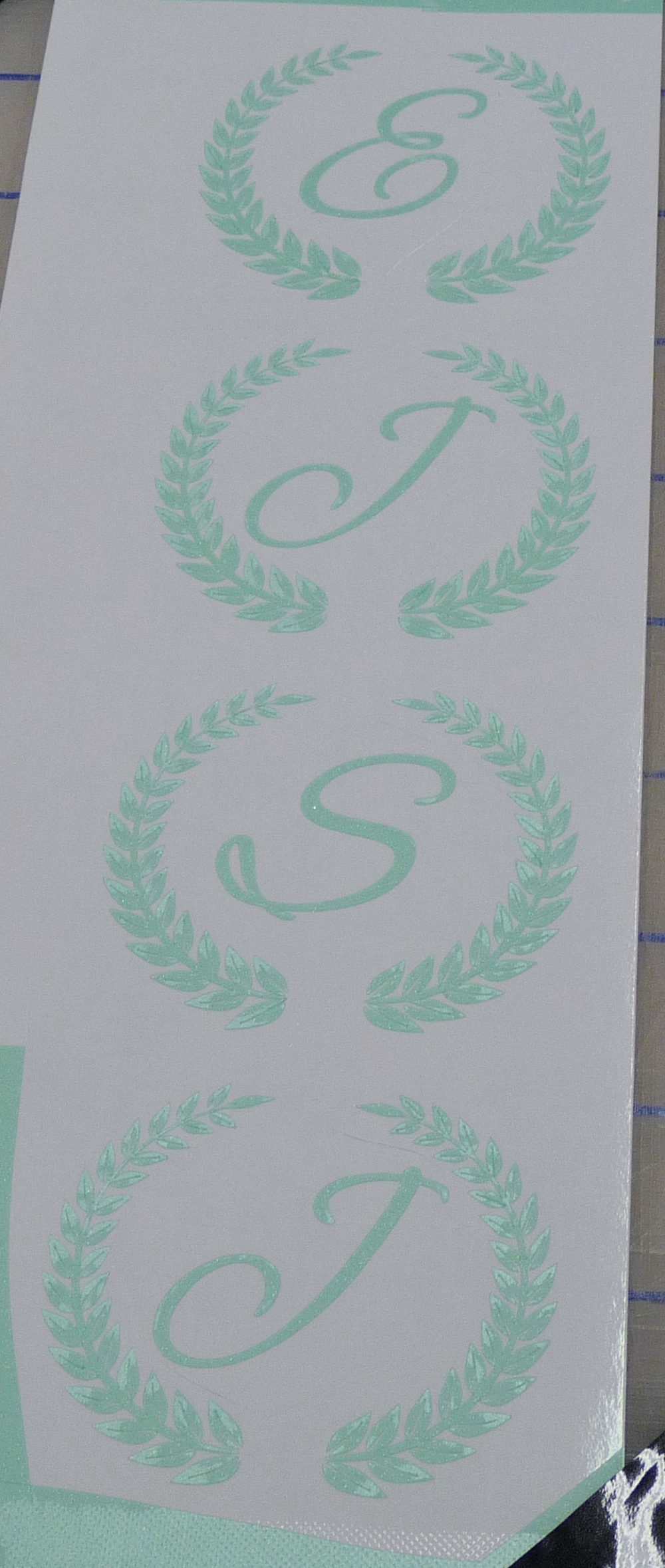 Green Etched Glass Decals