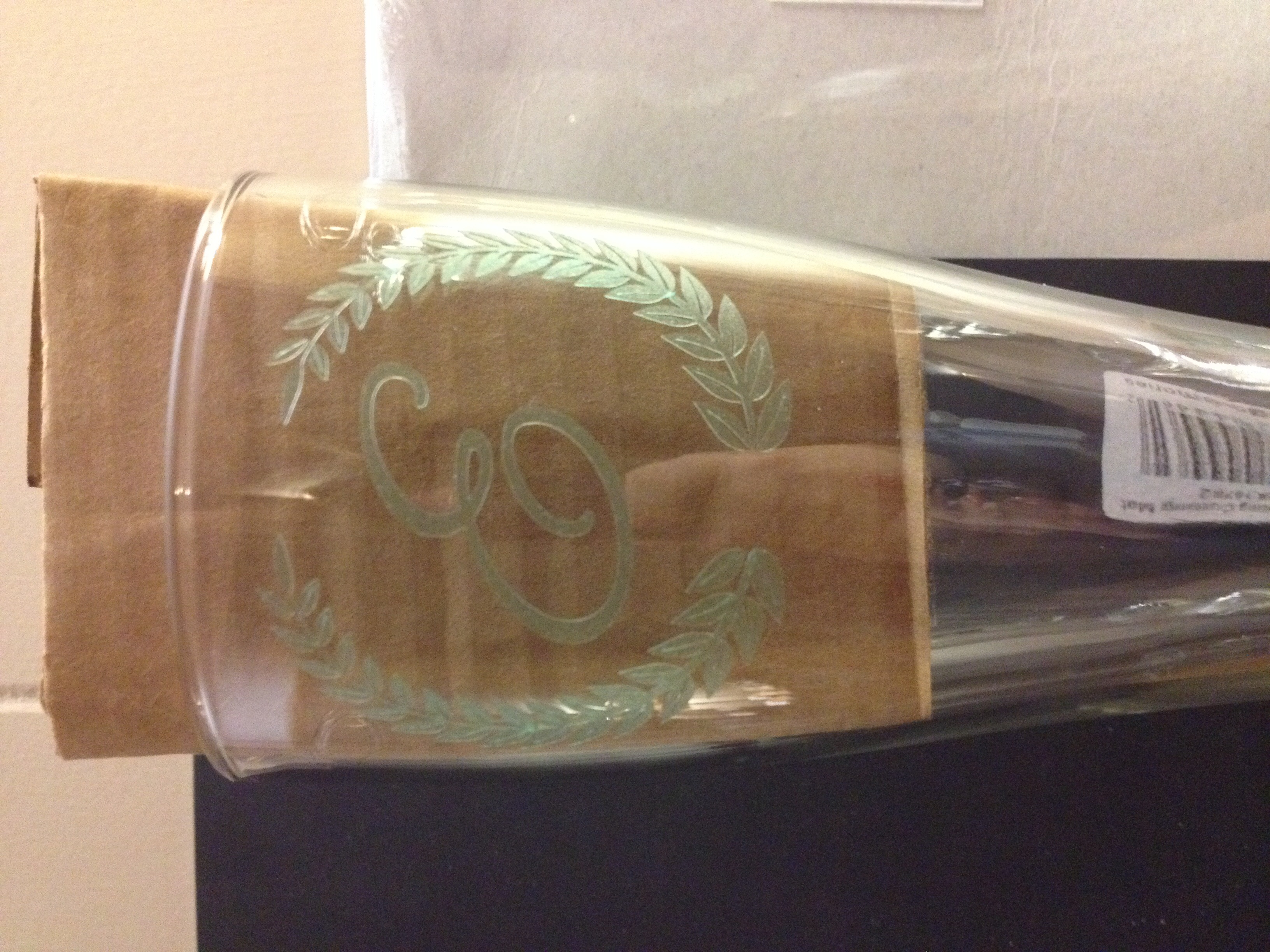 Customer photo! Finished piece with etched glass decal.