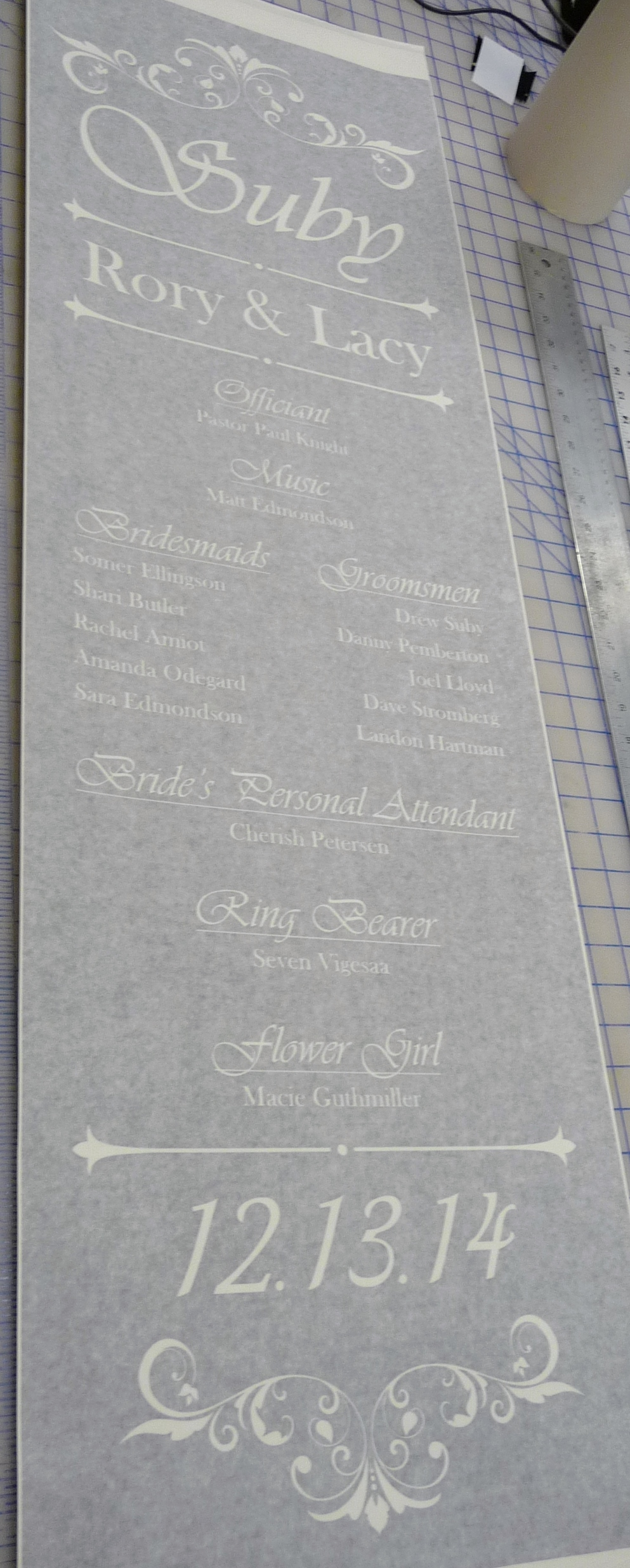 Large Glass Etching Stencil for a Wedding Mirror